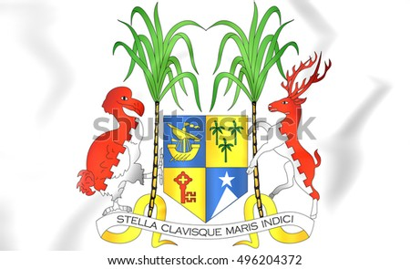 Mauritius Coat of Arms. 3D Illustration.