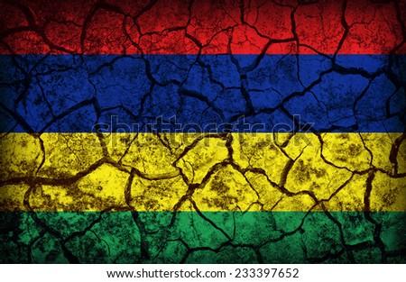 Mauritius flag pattern on the crack soil texture ,retro vintage style - stock photo