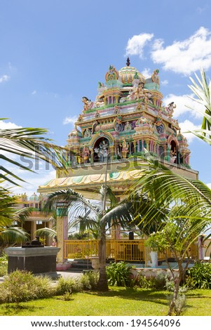 MAURITIUS-JANUARY 04: Architecture details of traditional Hindu temple on January 04, 2014 in Mauritius island. Hinduism is a major religion in Mauritius, representing 49% of the total population - stock photo