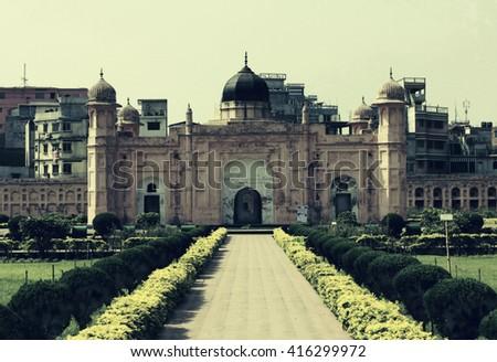 Mausoleum of Bibipari in Lalbagh fort, Dhaka, Bangladesh - Deep Night Effect - stock photo