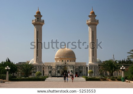 Mausoleum of Habib Bourgiba, the first President of the Republic of Tunisia. Monastir - stock photo
