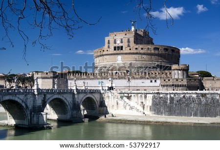 Mausoleum of Hadrian, Saint Angelo Castle in Rome - stock photo