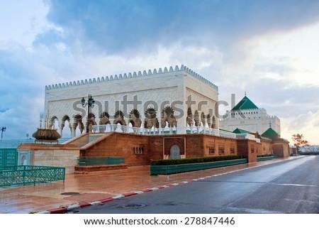 mausoleum of Muhammed V, Rabat, Morocco - stock photo
