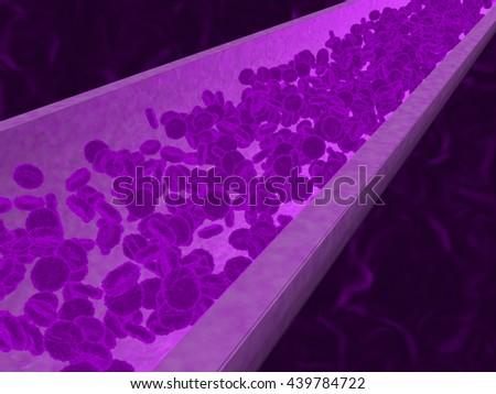 mauve cells - 3D illustration - stock photo