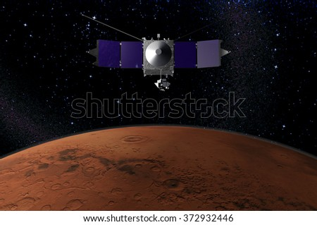 MAVEN - space probe designed to study the Martian atmosphere while orbiting Mars - 3d render - elements of this image furnished by NASA. - stock photo
