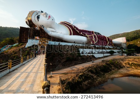 MAWLAMYINE, MON STATE, MYANMAR - APRIL 15, 2015: Win Sein Taw Ya, the world's largest Reclining Buddha statue in Mudon City, Mawlamyine, Mon State, Myanmar.