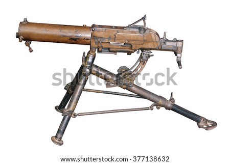 Maxim gun was the first self-powered machine gun, invented by the American-born Briton Sir Hiram Maxim in 1884. Used during WW1 and WW2. 1910. Russia.