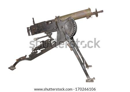 Maxim machine gun mod. 1908. (MG-O8) - is isolated on the white - stock photo