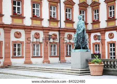 Maximilian monument in the Maximilian street in Bayreuth. Built by F. Brugger in 1860. - stock photo