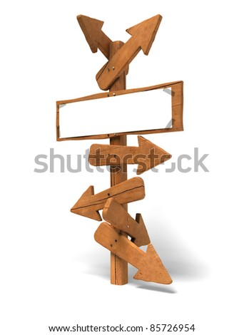 may arrows on a wooden post and a white sign for writing a message - Image is over a white background