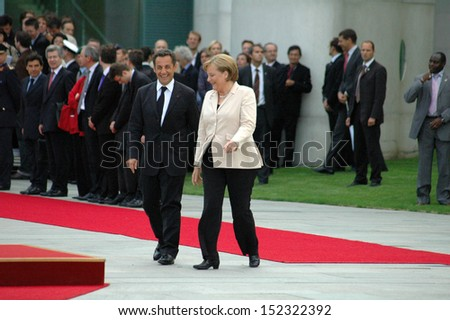 MAY 16, 2007 - BERLIN: Nicolas Sarkozy, Angela Merkel during the first state visit of the newly elected French president in Germany, Chanclery, Berlin.