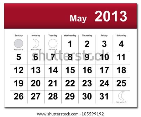 May 2013 calendar. - stock photo