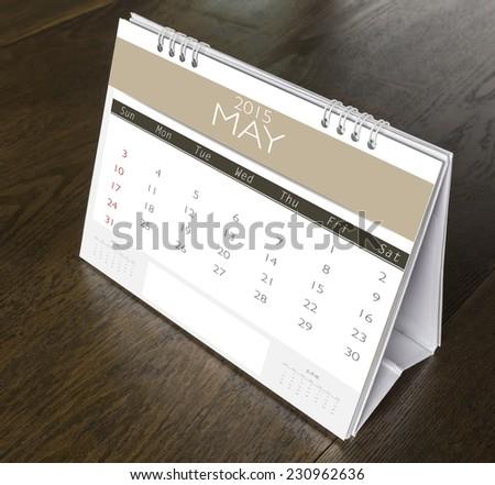 May Calendar  2015 on wood table - stock photo