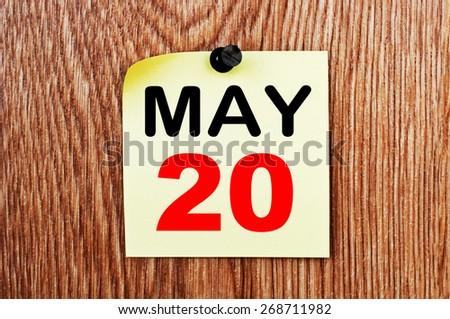 May 20 Calendar. Part of a set - stock photo