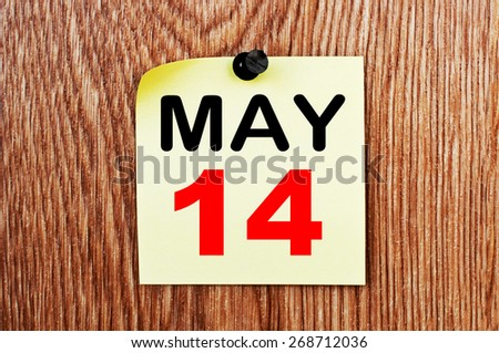 May 14 Calendar. Part of a set - stock photo