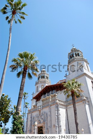 May 19, 2008 - California, USA: Hearst Castle and palm-trees