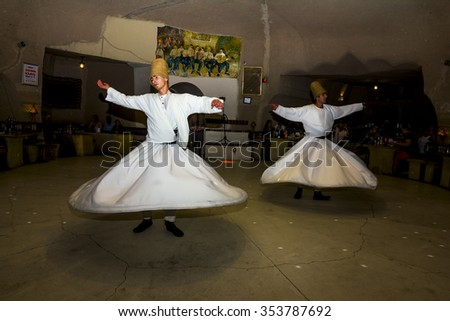 May 26, 2013.Goreme.The dramatized performance of Sufi dervishes in the restaurant in Cappadocia in Turkey.