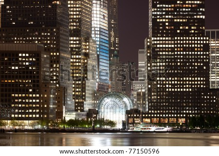 may 5, 2011. Manhattan, lower New York financial offices(downtown)  from Jersey city. One World Trade Center building under construction and color lighted. USA celebrates Osama Bin Laden Death