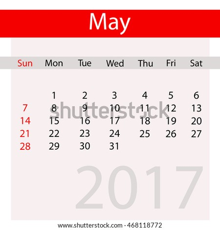 May Month of Business Contemporary Calendar for 2017