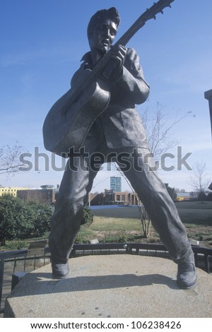 MAY 2004 - Statue of a young Elvis Presley on Beale Street, Memphis, TN