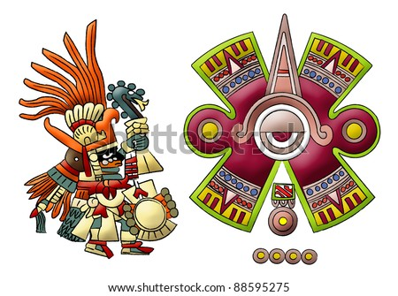 Maya - aztec - mexica - Isolated Symbols (3) - stock photo