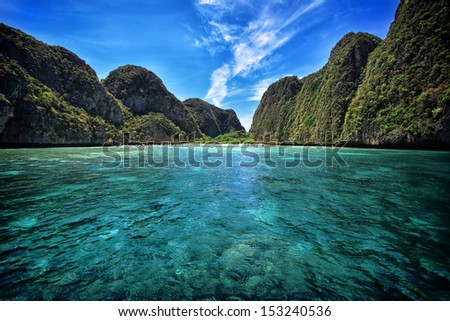 Maya bay in Phi-Phi island, Krabi Thailand  - stock photo
