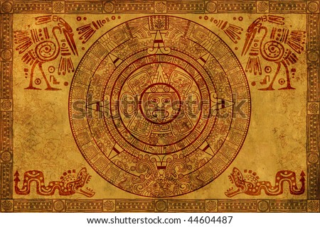 Maya calendar on ancient parchment - stock photo