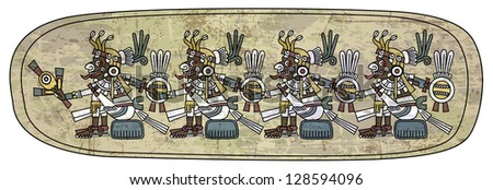 Maya ornament on the stone - stock photo