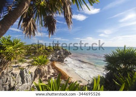 maya ruins in tulum  - stock photo