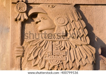 maya statue detail of bas relief in Mexico
