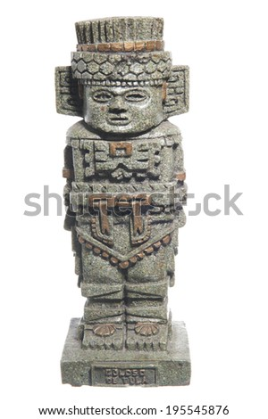 Maya statue in green stone on a white background  - stock photo