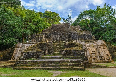 Maya temple in Central America - stock photo