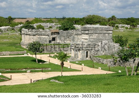 Mayan ancient ruin in archaeological site of Tulum, Mexico