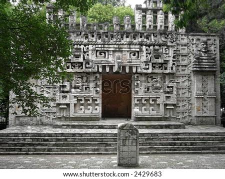 mayan architecture mexico - stock photo