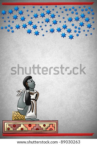 Mayan - Aztec observing the constellations in the night - stock photo