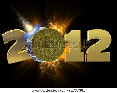 Mayan Calendar 2012.  A golden Mayan calendar eclipsing the Earth which is being hit by an asteroid.
