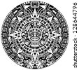 Mayan calendar on white background. Raster version of vector - stock photo