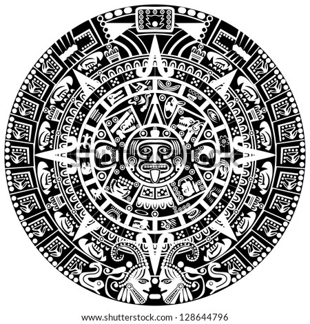 Mayan calendar on white background. Raster version of vector