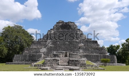 Mayan culture pyramid in Chaccoben Mexico