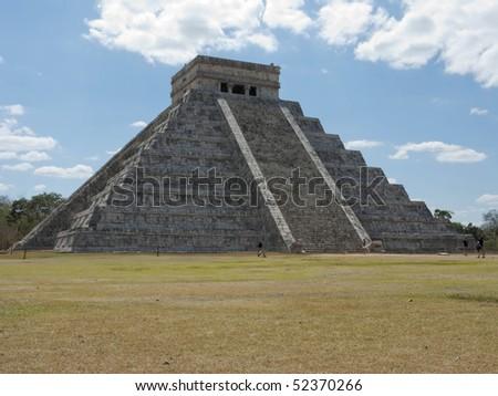 Mayan El Castillo at Chichen Itza in Mexico's Yucatan - stock photo