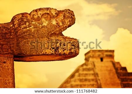 Mayan Head Sculpture in Chichen Itza - stock photo