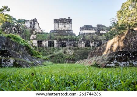 Mayan historic building at Tikal Jungle. Guatemala. - stock photo