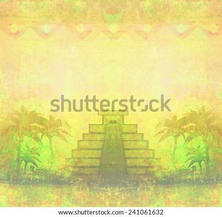 Mayan Pyramid, Chichen-Itza, Mexico - grunge abstract background  - stock photo