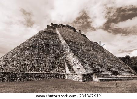 Mayan pyramid in Uxmal, Yucatan, Mexico - stock photo