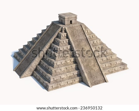 Mayan pyramid isolated - stock photo
