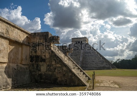 """Mayan Pyramid of Kukulkan """"El Castillo"""" as seen from the Platform of the Eagles and the Jaguars, Chichen Itza, Mexico. - stock photo"""