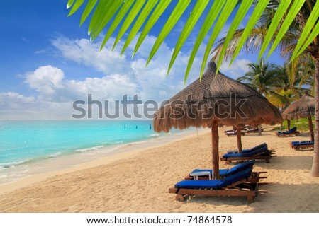 Mayan Riviera tropical beach palm trees sunroof turquoise Caribbean sea [Photo Illustration] - stock photo