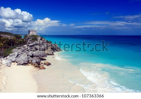 Mayan ruins and beautiful Caribbean beach in Tulum Mexico - stock photo