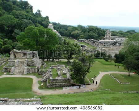 Mayan ruins at Palenque, Mexico - stock photo