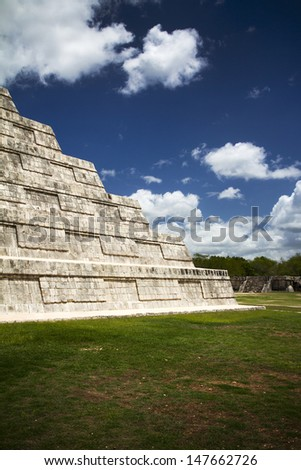 Mayan ruins in Mexico, detail of craftsmanship  - stock photo